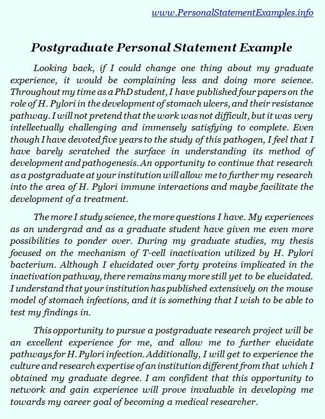 Sample Personal Statement For Graduate Study - Shishita-world.com