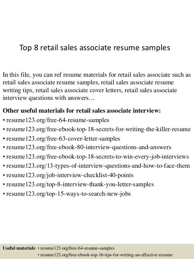 sample resume for retail sales associate unforgettable part time