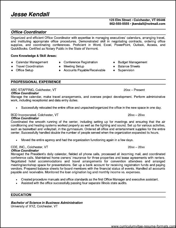 Office Coordinator Resume Summary - Free Samples , Examples ...