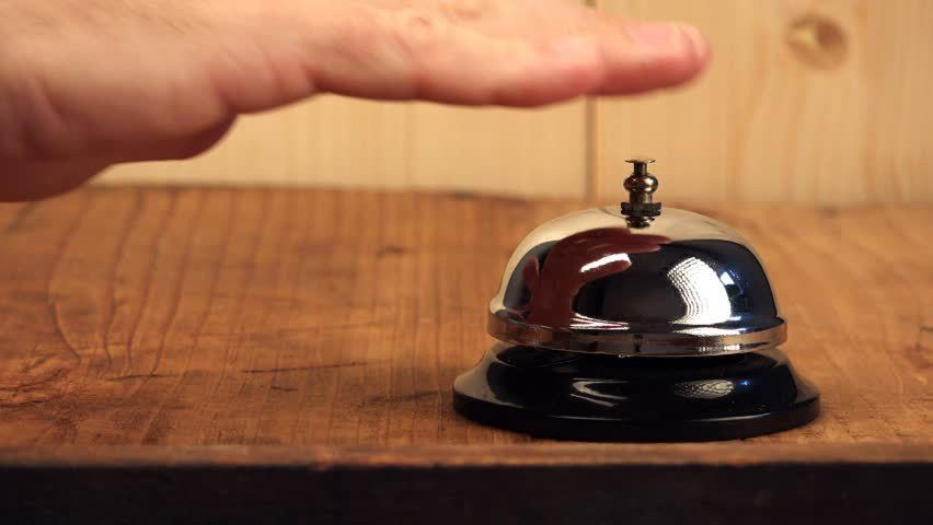 Man Ringing Hotel Reception Bell, Male Hand Pushing Accommodation ...