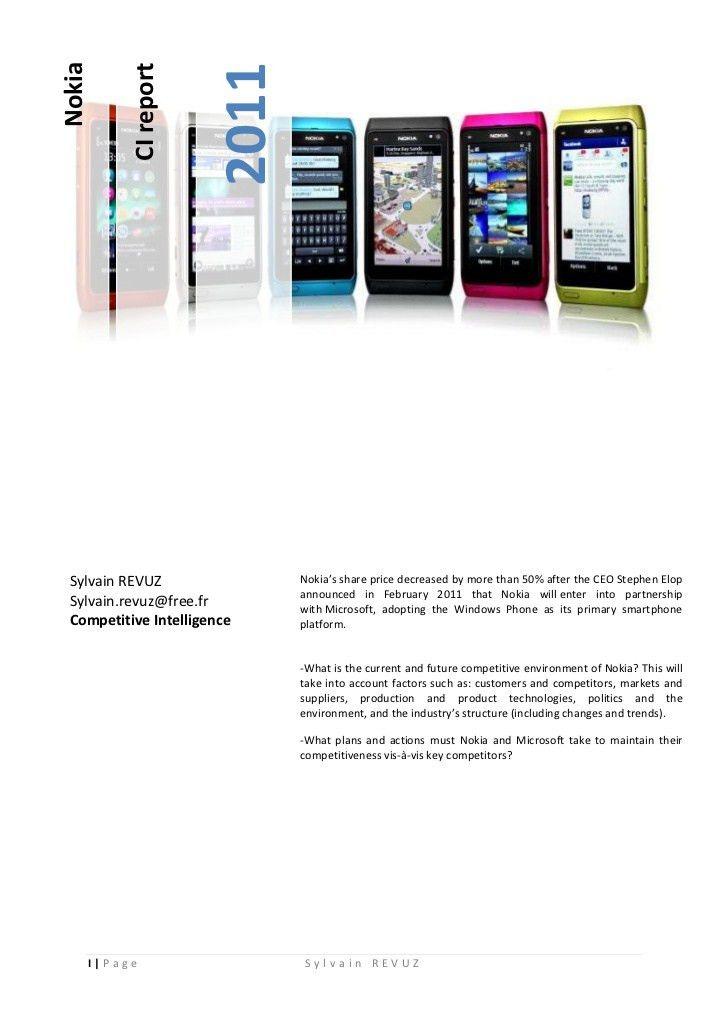 Nokia Competitive Intelligence, Strategy and Marketing analysis