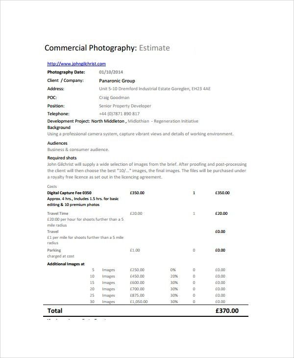 Sample Photography Quote - 6+ Documents in PDF