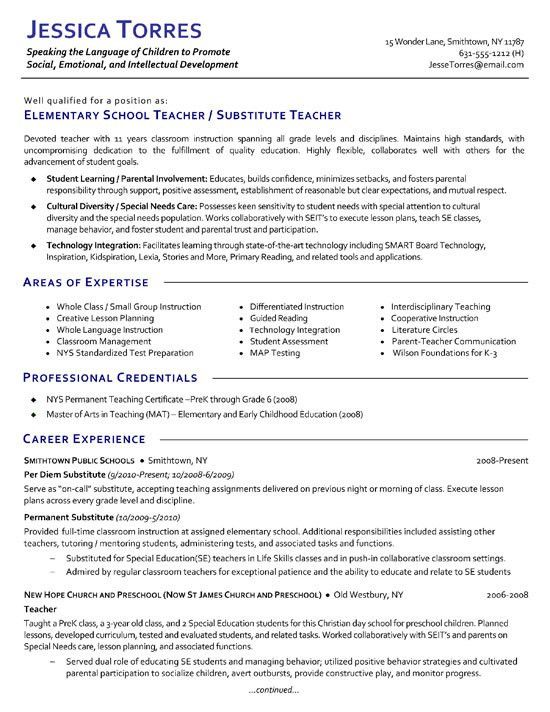 Substitute Teacher Resume Example | Resume examples, Substitute ...