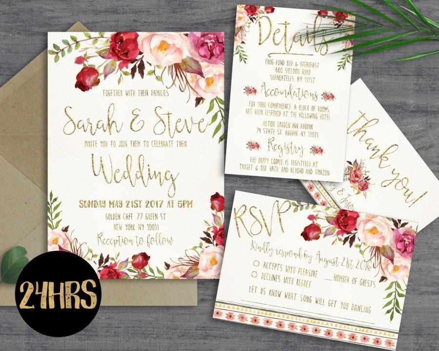 Printable Wedding Invitation - Wedding Invitations Set - Printable ...