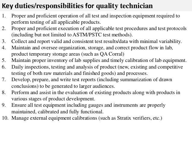 Quality technician job description