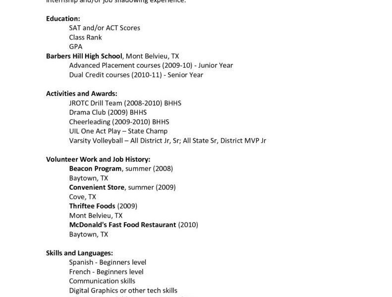 Examples Of High School Resumes For College. College Resume ...