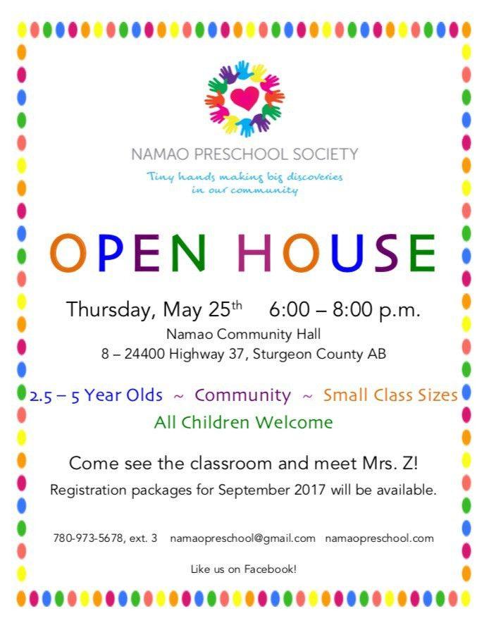 OPEN HOUSE – Thursday, May 25th 6:00 – 8:00 p.m. – Namao Preschool ...