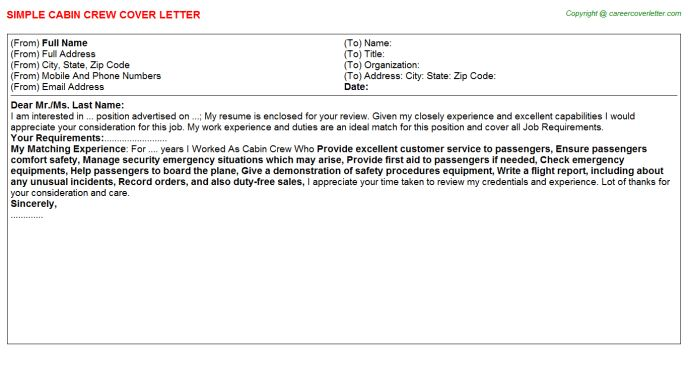 Cabin Crew Cover Letters