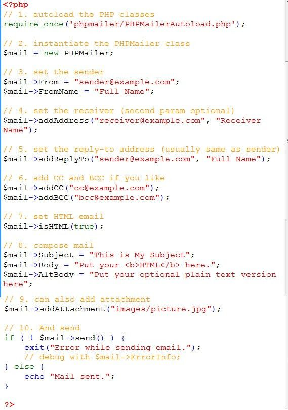 Example of Using PhpMailer to send emails in PHP | Learn Web Tutorials