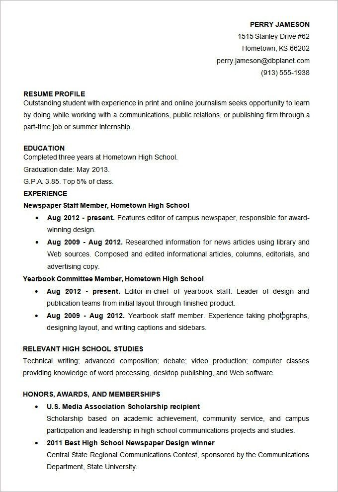 High School Student Resume Template. Resume Format For Students In ...