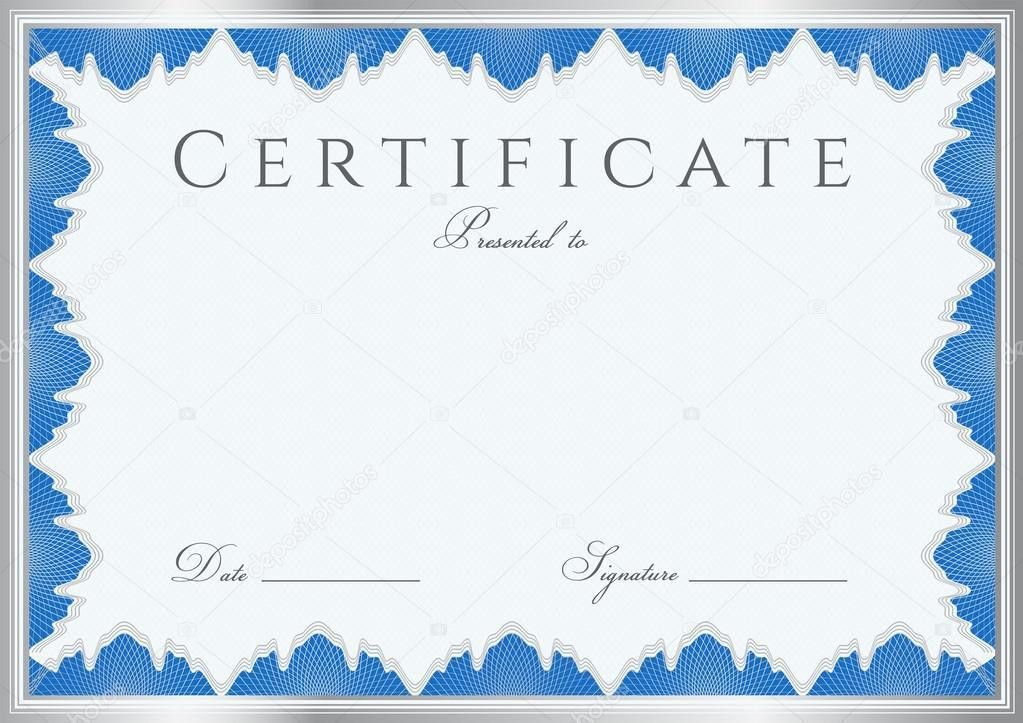 Blue Certificate of completion (template or sample background ...
