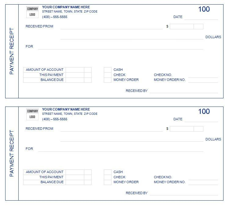 Free Printable Blank Payment Receipt Form Template Sample : Helloalive