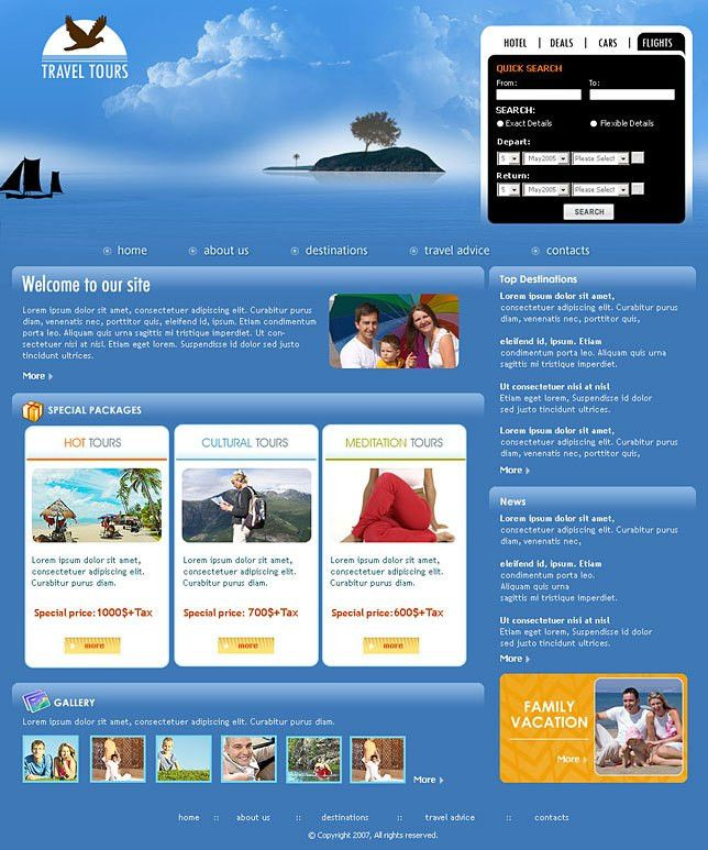 Buy web design templates for tours and travel services