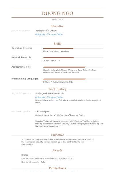 Undergraduate Researcher Resume samples - VisualCV resume samples ...