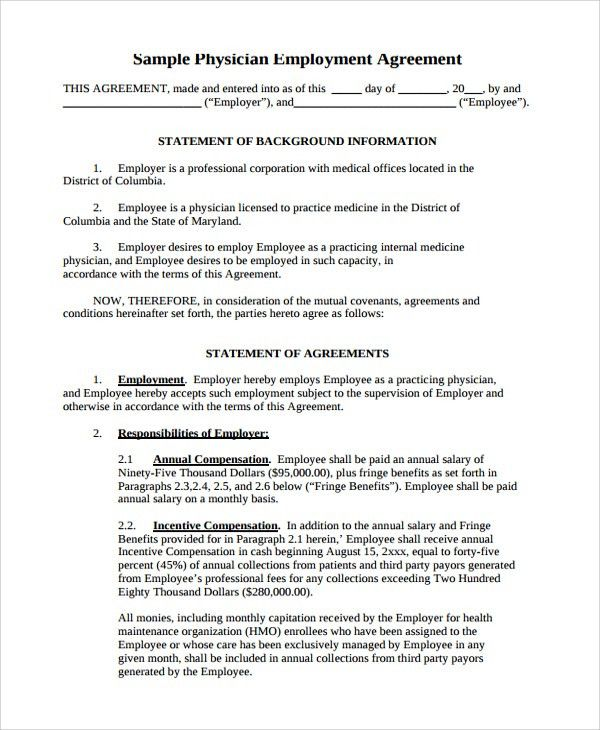 Sample Physician Employment Agreement - 7+ Documents in PDF, Word
