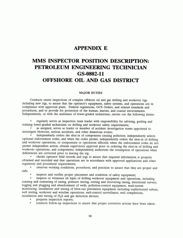 Appendix E: MMS Inspector Position Description: Petroleum ...