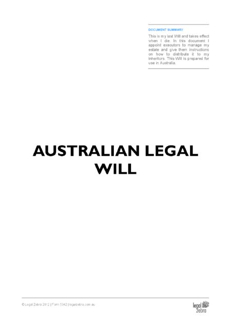 Will Kit: FREE Draft Australian Legal Will - Legal Zebra