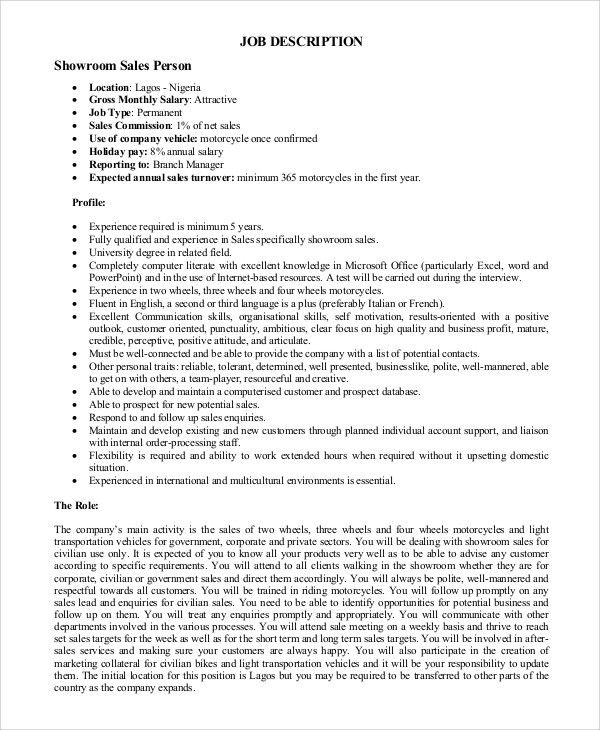Sample Sales Job Description - 10+ Examples in PDF, Word