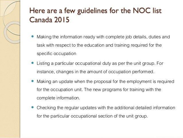 NOC List Canada 2015