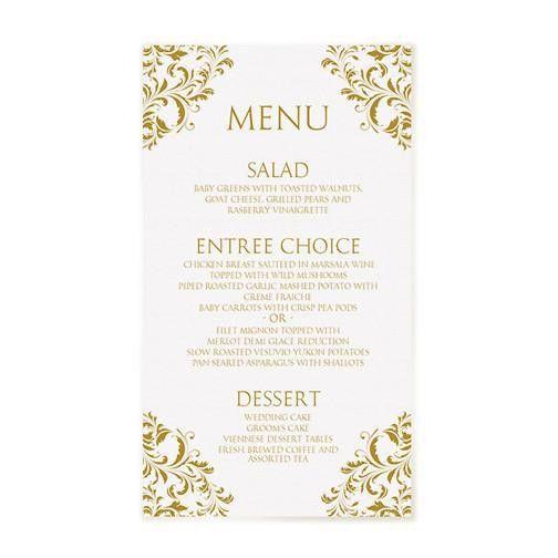Wedding Menu Template | Nadine (Gold) 4 x 7