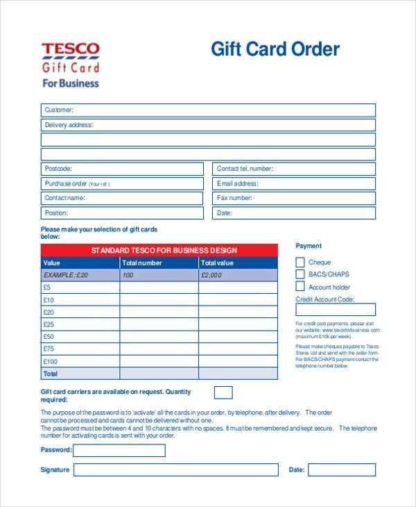 8+ Sample Card Order Forms- Free Sample, Example Format Download