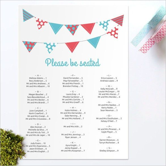 Wedding Reception Seating Chart Template Round Tables ...