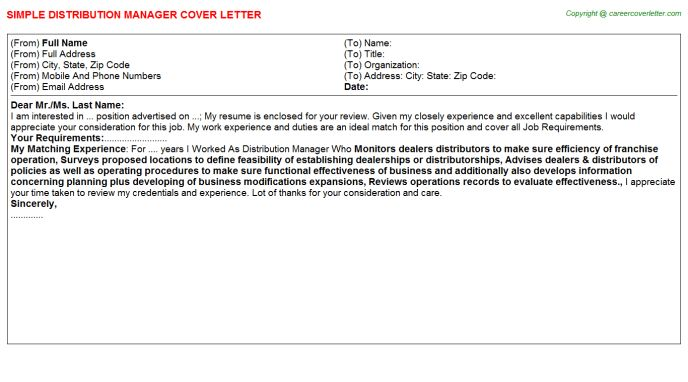 Distribution Manager Job Title Docs