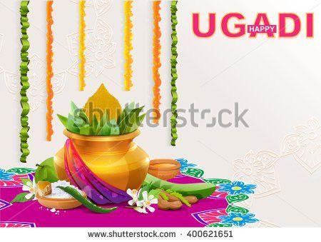 Happy Ugadi Template Greeting Card Holiday Stock Vector 400621651 ...