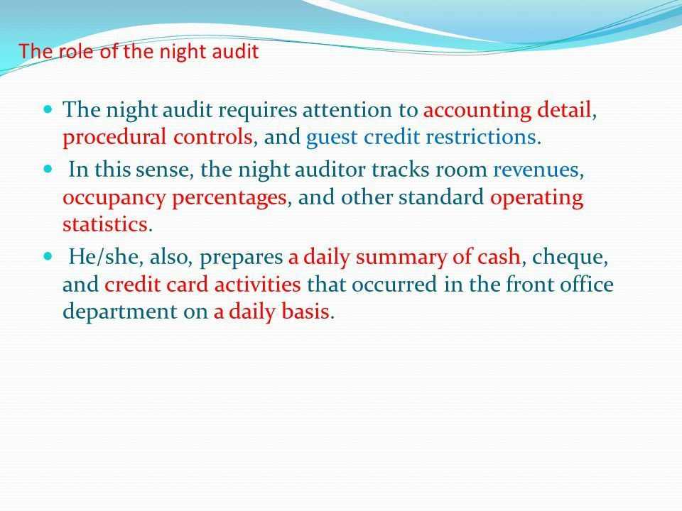 Conduct Night Audit Week (15-16). - ppt video online download