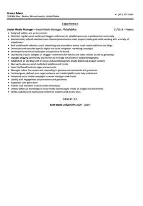 Social Media Manager Resume Sample | Velvet Jobs