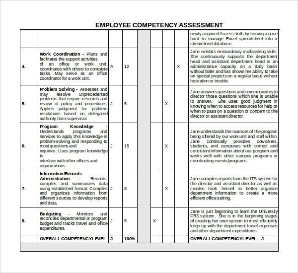 Sample Competency Assessment Template - 6+ Free Documents Download ...
