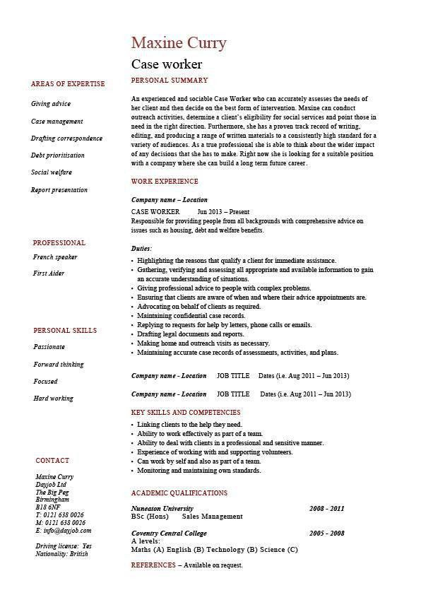Case worker resume, social, sample, example, templates, job ...