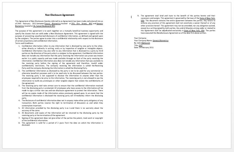 Confidentiality Contract Template | Microsoft Word Templates