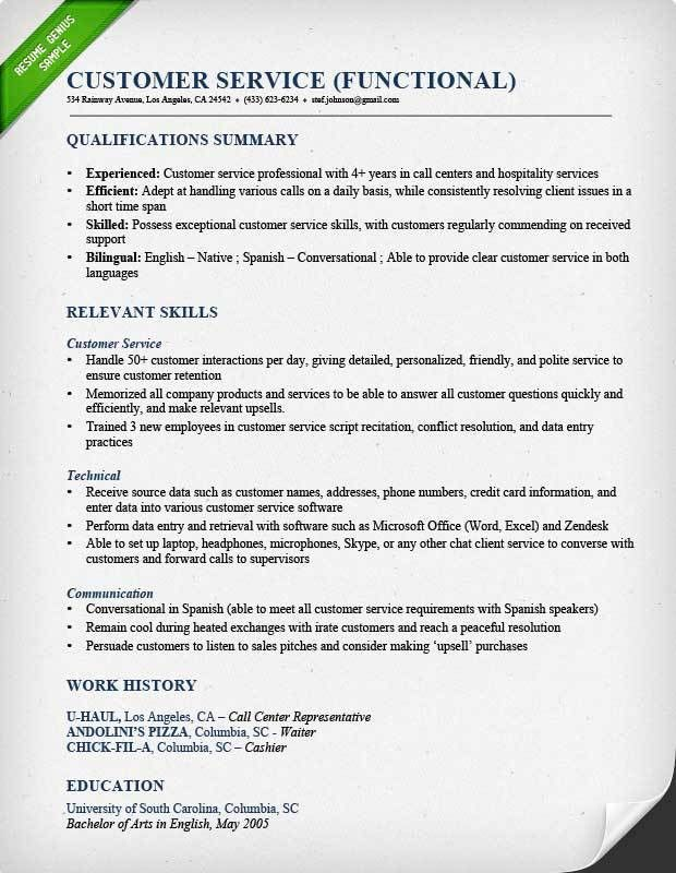 customer service call center fuctional resume sample customer ...