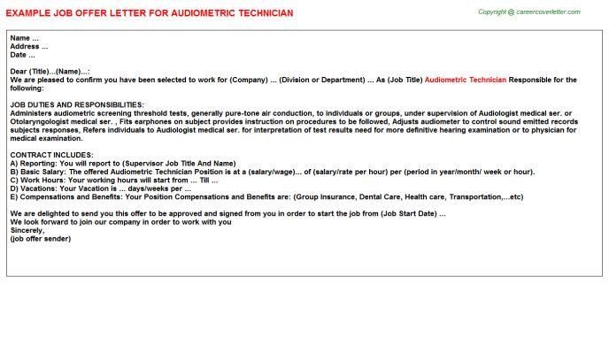 Audiometric Technician Job Title Docs