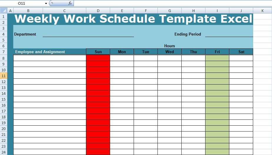 Get Weekly Work Schedule Template Excel - Project Management ...