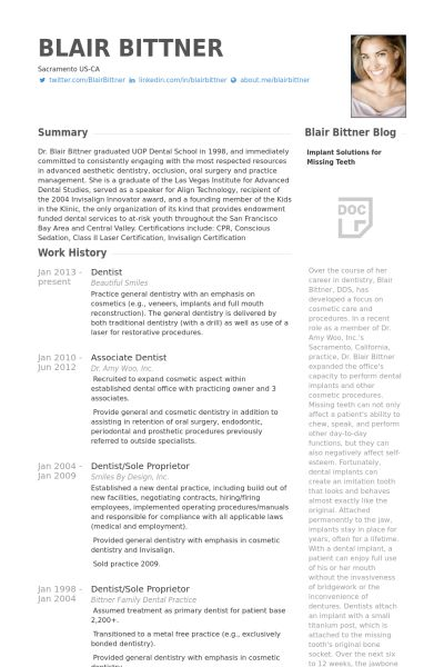 Dentist Resume samples - VisualCV resume samples database