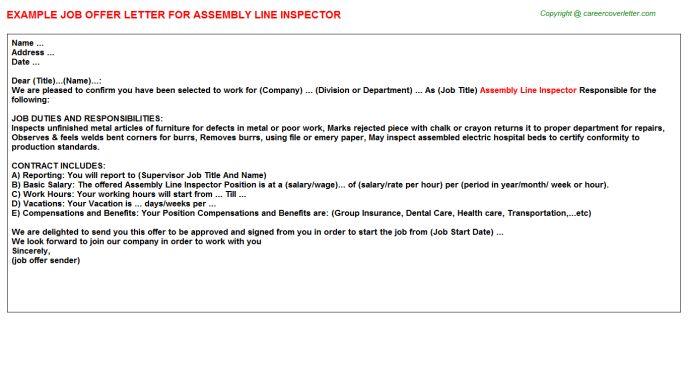 Assembly Line Inspector Offer Letter