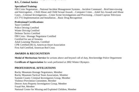 basic field investigator resume. detective and criminal ...