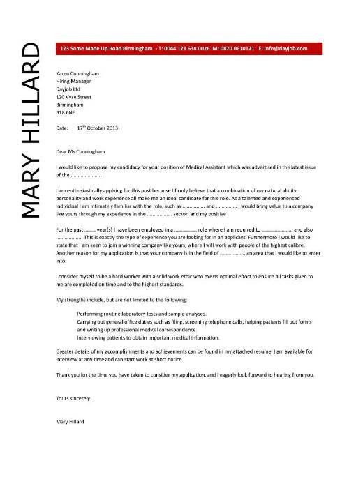 Medical Assistant Cover Letter | Experience Resumes