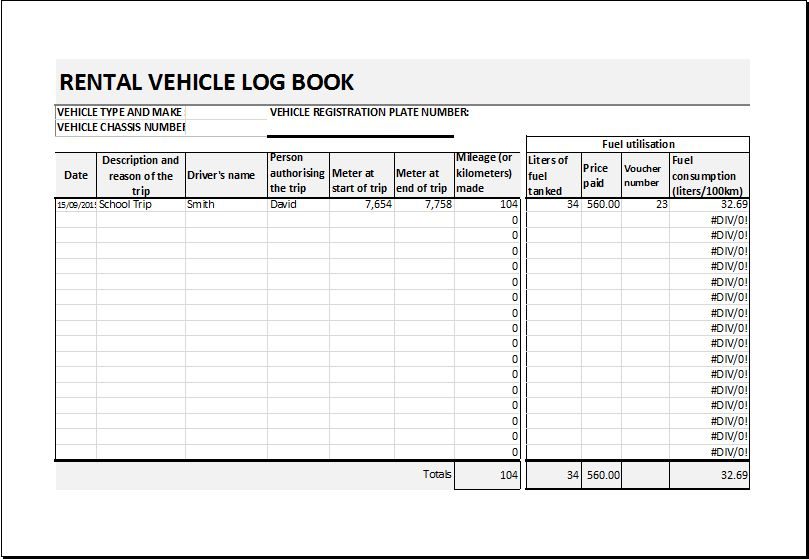 Rental vehicle log book template DOWNLOAD at http://www ...