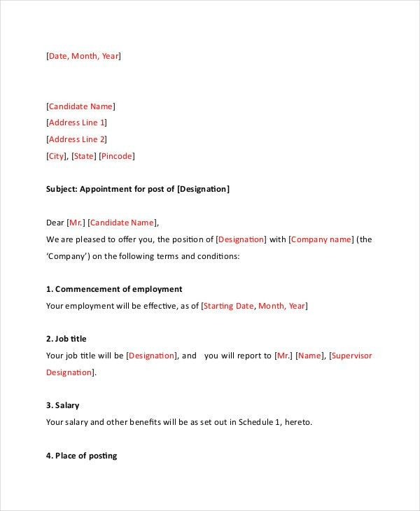 Appointment Letter - 7+ Free Word, PDF Documents Download   Free ...