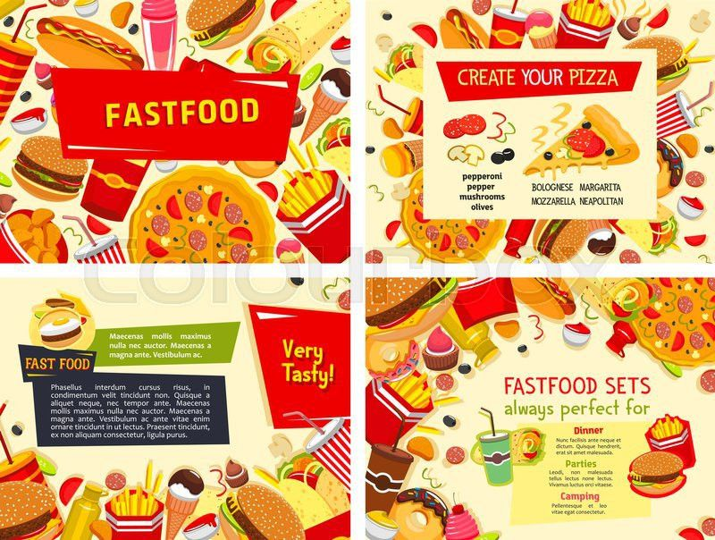 Fast food posters for restaurant. Vector design set of pizza ...