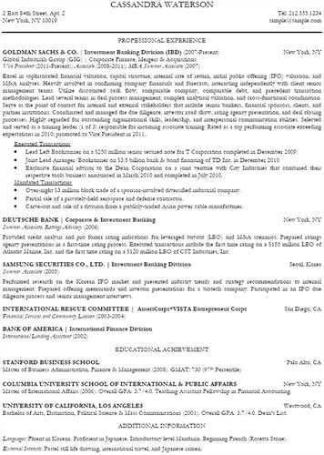 Goldman Sachs Resume - Hyperink