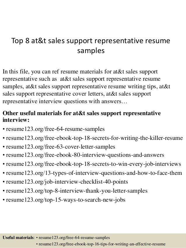 Top 8 at&t sales support representative resume samples