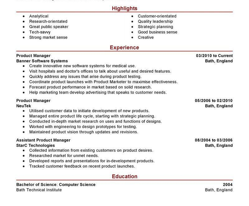 professional job summary and experience product manager resume ...