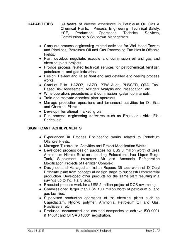 Download Chemical Process Engineer Sample Resume ...