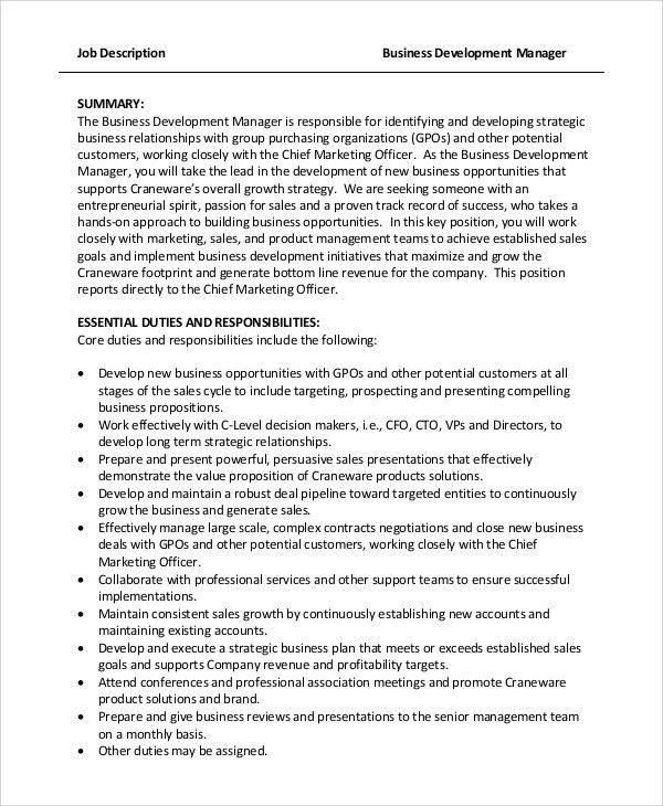 Sample Business Manager Job Description. Sample Business ...