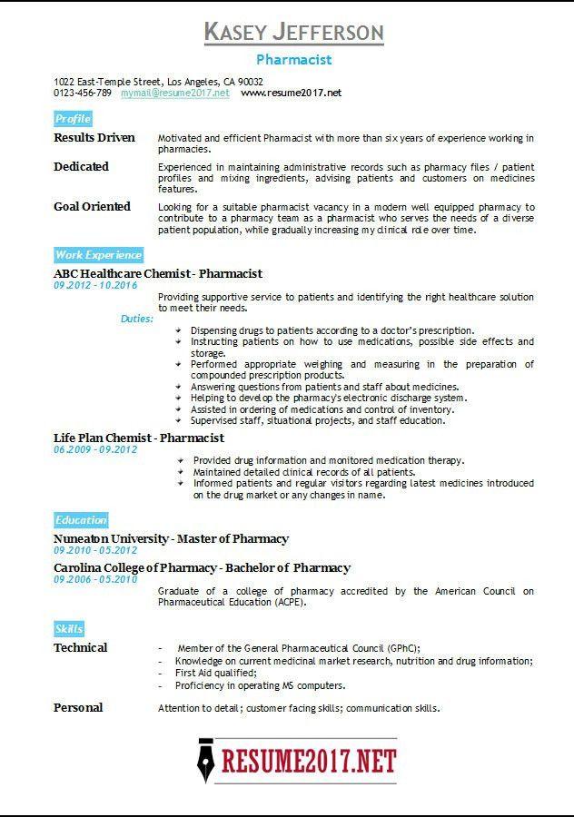 Pharmacist Resume 2017 Templates •
