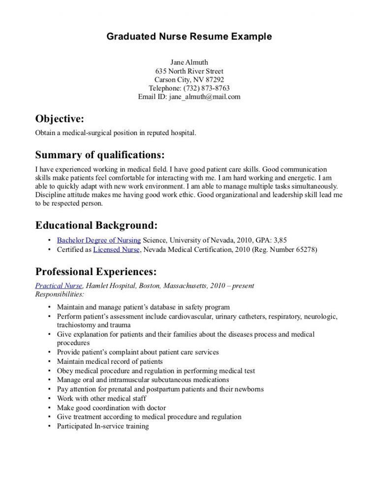 Interesting Graduate Nurse Resume 8 Sample Nurse Resumes Nicu ...